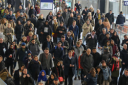 © Licensed to London News Pictures. 02/12/2019. London, UK. Commuters at Waterloo Station on the first day of 27 days of RMT (National Union of Rail, Maritime and Transport Workers) strike lasting until New Year's Day. Union members of South Western Railway start a series of industrial action in the long-running dispute over guards on trains. Photo credit: Dinendra Haria/LNP