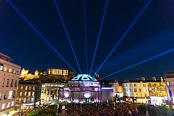 The opening event of the Edinburgh International Festival the Aberdeen Standard Investments: Opening Event Five Telegrams took place with projections onto the Usher Hall by 59 Productions and music by Anna Meredith