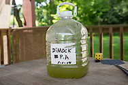 A jug of contaminated water taken from Ray Kems well in Dimock PA. Klem's water well was contaminated shortly after Cabot Oil an Gas started drilling near his home.