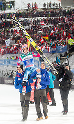 06.01.2015, Paul Ausserleitner Schanze, Bischofshofen, AUT, FIS Ski Sprung Weltcup, 63. Vierschanzentournee, Finale, im Bild Stefan Kraft (AUT, 1.. Platz gesamtwertung) // 1st placed overall Stefan Kraft of Austria celebrate his victory after the Final of 63rd Four Hills Tournament of FIS Ski Jumping World Cup at the Paul Ausserleitner Schanze, Bischofshofen, Austria on 2015/01/06. EXPA Pictures © 2015, PhotoCredit: EXPA/ Johann Groder