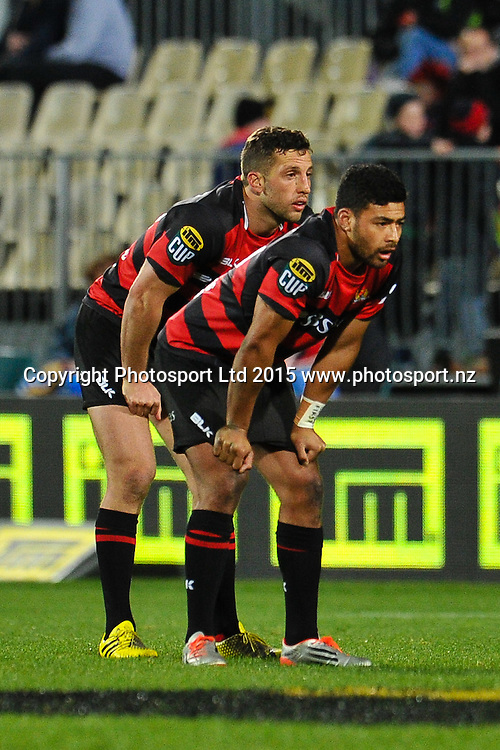 Tom Taylor  and Richie Mo�unga of Canterbury during the ITM Cup rugby match, Canterbury v Hawke's Bay, at AMI Stadium, Christchurch, on the 12th September 2015. Copyright Photo: John Davidson / www.photosport.nz