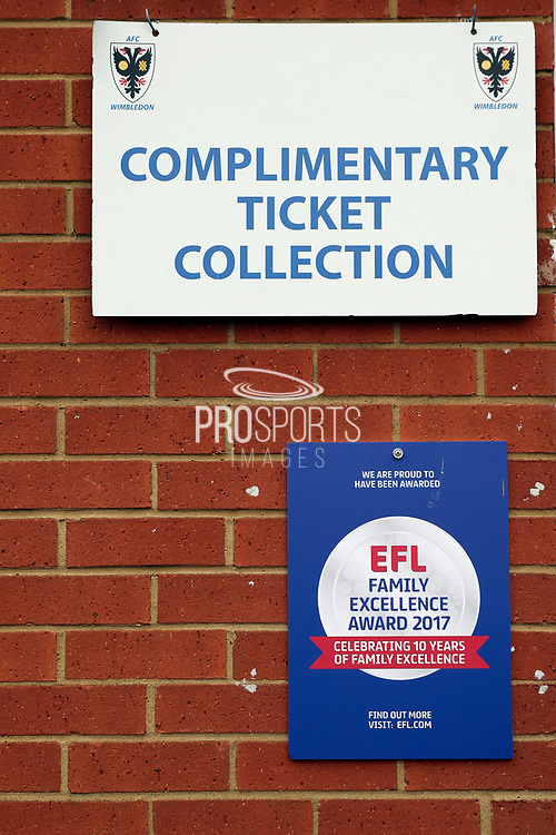 EFL Family excellence award during the EFL Sky Bet League 1 match between AFC Wimbledon and Oxford United at the Cherry Red Records Stadium, Kingston, England on 10 March 2018. Picture by Matthew Redman.
