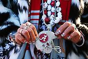Donna Long, of Decatur, AL, shows off her Alabama spirit outside Raymond James Stadium, Monday, January 9, 2017.