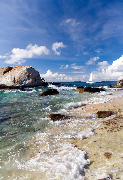 """The Baths, Virgin Gorda:  (From Wikipedia:) Virgin Gorda is the third-largest (after Tortola and Anegada) and second most populous of the British Virgin Islands (BVI). Located at approximately 18 degrees, 48 minutes North, and 64 degrees, 30 minutes West, it covers an area of about 8 square miles (21 km²). Christopher Columbus is said to have named the island """"The Fat Virgin"""", because its silhouette resembles a rotund woman lying on her back...Virgin Gorda is one of the BVI's major tourist destinations, largely because of an unusual geologic formation known as """"The Baths"""" located on the southern end of the island. At The Baths, the beach shows evidence of the island's volcanic origins, as huge granite boulders lie in piles on the beach, forming scenic grottoes that are open to the sea. Swimming and snorkelling are the main attractions here. ."""