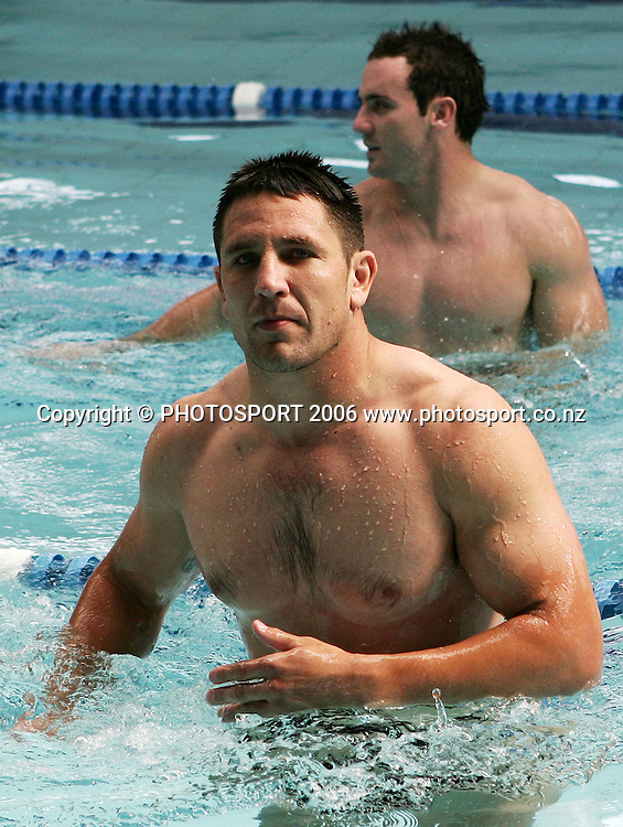 Warriors captain and prop Steve Price (front) during the Warriors pool and media session held at Lincoln Fitness and Leisure centre, in Auckland, New Zealand on Thursday 24 August, 2006. Photo: Tim Hales/PHOTOSPORT