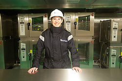 Commander Fiona Percival in the bakery kitchen for the Junior rating dining hall. Tour of the Queen Elizabeth Aircraft Carrier under construction at the Babcock site in Rosyth dockyard.