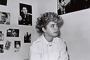 Student sitting in halls room, East Anglia University campus, UK, 1984