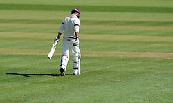 Dejection for Somerset's Lewis Gregory as he is dismissed first ball. .  - Photo mandatory by-line: Harry Trump/JMP - Mobile: 07966 386802 - 14/04/15 - SPORT - CRICKET - LVCC County Championship - Day 3 - Somerset v Durham - The County Ground, Taunton, England.