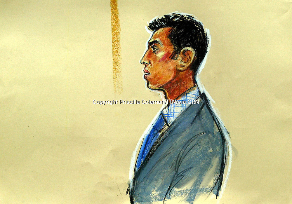 ©PRISCILLA COLEMAN (ITV ): 17.05.05.ARTWORK SHOWS:  ZAHEED AHMED IN THE DOCK AT THE OLD BAILEY, WHERE HE IS ON TRIAL FOR THE MURDER OF HIS WIFE, ADEEBA AHMED. ADEEBA'S BODY WAS FOUND IN A SUITCASE FLOATING ON THE THAMES. - SEE STORY.ARTWORK BY: PRISCILLA COLEMAN (ITV)