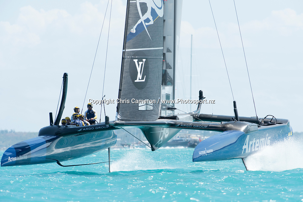 The Great Sound, Bermuda. 5th June 2017. Artemis Racing (SWE) win race two of the Louis Vuitton America's Cup Challenger Playoff Semi-Finals against Soft Bank Team Japan.<br /> &copy; Copyright photo: Chris Cameron / www.photosport.nz