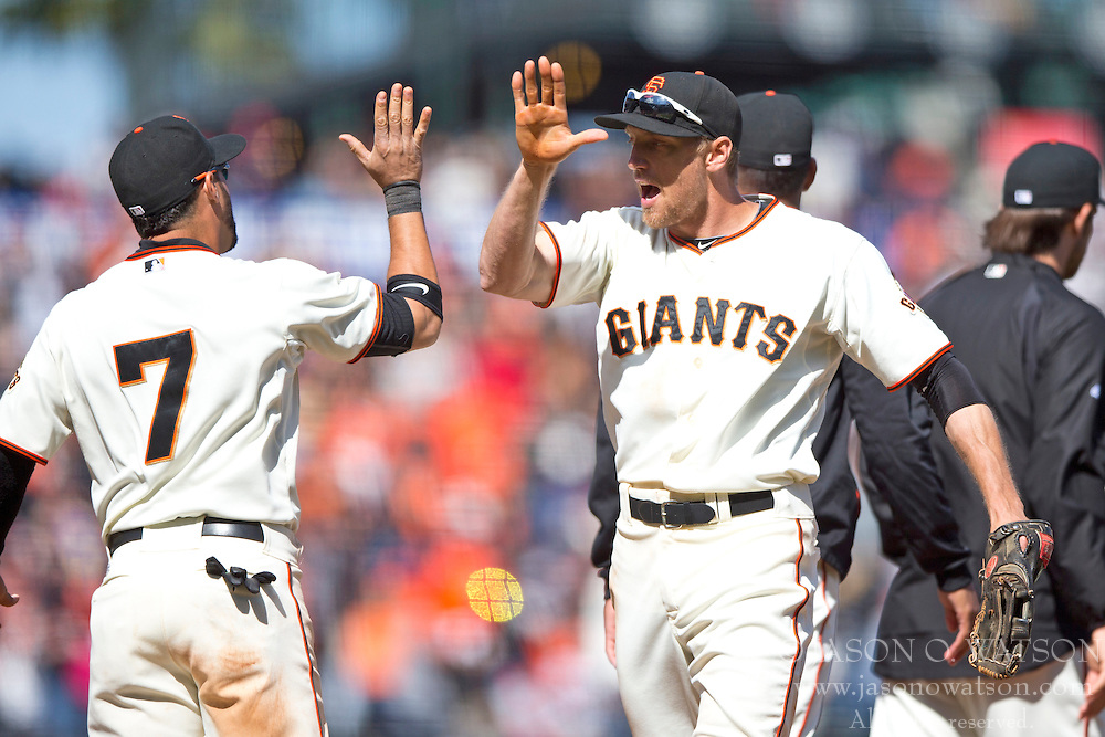 SAN FRANCISCO, CA - APRIL 26:  Hunter Pence #8 of the San Francisco Giants celebrates with Gregor Blanco #7 after the game against the Cleveland Indians at AT&T Park on April 26, 2014 in San Francisco, California. The San Francisco Giants defeated the Cleveland Indians 5-3.  (Photo by Jason O. Watson/Getty Images) *** Local Caption *** Hunter Pence; Gregor Blanco