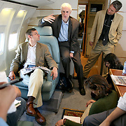 July 12, 2006 - Ira Magaziner, an advisor to President Clinton on health, briefs journalists about the work of the Clinton Foundation on a flight to Lesotho. Photo by Evelyn Hockstein