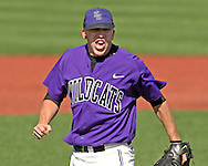 Kansas State pitcher Daniel Edwards reacts after striking out Texas Tech's Matt Smith for the final out at Tointon Stadium in  Manhattan, Kansas, April 1, 2007.  Kansas State defeated Texas Tech 7-3.