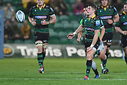 Northampton Saints fly half James Grayson (10) passes during the Gallagher Premiership Rugby match between Northampton Saints and Harlequins at Franklins Gardens, Northampton, United Kingdom on 1 November 2019.