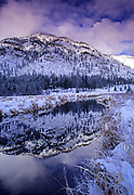 Bull River and the Cabinet Mountains in winter. Bull River Valley, northwest Montana
