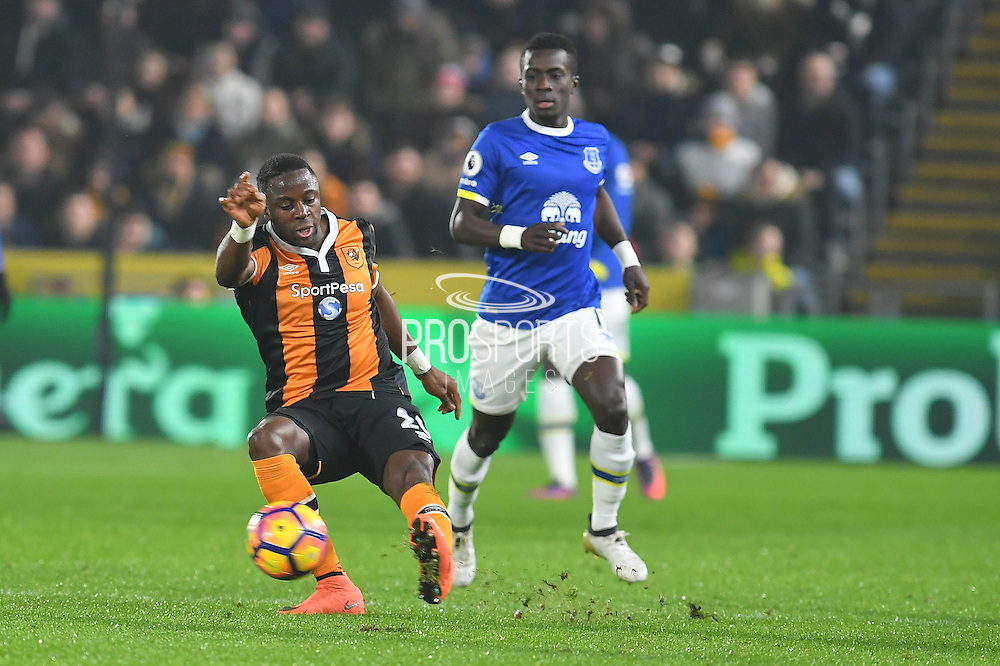 Hull City Striker Adama Diomande (20) and Idrissa Gueye (17) Everton FC midfielder  during the Premier League match between Hull City and Everton at the KCOM Stadium, Kingston upon Hull, England on 30 December 2016. Photo by Ian Lyall.
