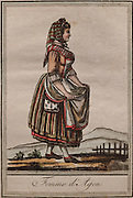 Woman from Agen in traditional dress, by Jacques Grasset de Saint Sauveur, 1757-1810, from the 'Gens du Petit Peuple', late 18th century, in the Musee d'Aquitaine, Cours Pasteur, Bordeaux, Aquitaine, France. Picture by Manuel Cohen