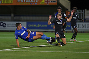 AFC Wimbledon attacker Tommy Wood (22) trying to connect with pass into the box during the EFL Trophy (Leasing.com) match between AFC Wimbledon and U23 Brighton and Hove Albion at the Cherry Red Records Stadium, Kingston, England on 3 September 2019.