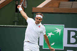 March 10, 2019 - Indian Wells, CA, U.S. - INDIAN WELLS, CA - MARCH 10: Roger Federer (SUI) hits a backhand during the BNP Paribas Open on March 10, 2019 at Indian Wells Tennis Garden in Indian Wells, CA. (Photo by George Walker/Icon Sportswire) (Credit Image: © George Walker/Icon SMI via ZUMA Press)