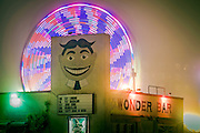 A ferris wheel spins behind Tilly at the Wonder Bar in Asbury Park, New Jersey.