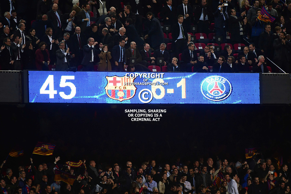 The final score at the end of the Uefa Champions League Round of 16 second leg match between FC Barcelona and Paris Saint Germain at Camp Nou on March 8, 2017 in Barcelona, Spain. (Photo by Dave Winter/Icon Sport)