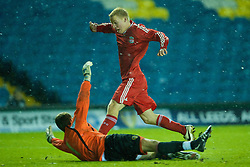 LEEDS, ENGLAND - Tuesday, December 2, 2008: Liverpool's Lauri Dalla Valle rounds Leeds United's goalkeeper Ryan Jones during the FA Youth Cup 3rd Round at Elland Road. (Photo by David Rawcliffe/Propaganda)