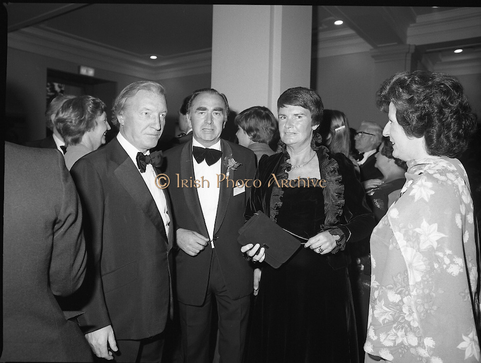 (N92)..1981..09.09.1981..9th September 1981..The President ,Dr Patrick Hillery, officially opened the new National Concert  Pictured at the State opening of the National Concert Hall, Earlsfort Terrace Dublin, former Taoiseach Charles Haughey and Mrs Maureen Haughey. Between Mr and Mrs Haughey is National Concert Hall board member and Chair of the Dublin Grand Opera Society Donald Potter.  To Mrs Haughey's left is Veronica Dunne, another member of the board.The venue was officially opened by President Patrick Hillery, followed by the premier concert featuring the Radio Telefís Éireann Symphony Orchestra with a large<br /> cast of soloists, choirs and the RTÉSO leader Audrey Park, conducted by RT Hall,Earlsfort Terrace, Dublin. The state opening was followed by the premier concert performed by the Radio Telefís Eireann Symphony Orchestra with a large cast of soloists, choirs and the RTESO leader Audrey Park and conducted by RTE's Principal conductor Colman Pearce...<br /> <br /> Former Taoiseach, Mr Charles Haughey, between Mr and Mrs Haughey is Donald Potter - another board member and Chair of the Dublin Grand Opera Society, National Concert Hall Committee and Mrs Maureen Haughey, To Mrs Haughey's left is Veronica Dunne, another board member were pictured at the State Opening of the concert hall.
