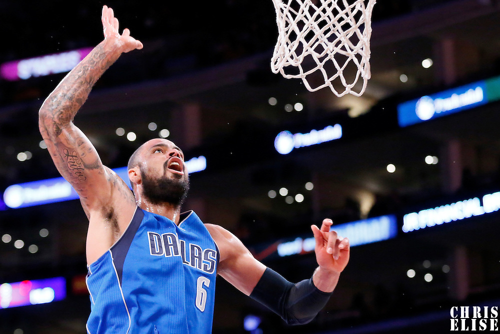 12 April 2014: Dallas Mavericks center Tyson Chandler (6) goes for the rebound during the Dallas Mavericks 120-106 victory over the Los Angeles Lakers, at the Staples Center, Los Angeles, California, USA.
