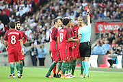 Portugal defender, Bruno Alves (02) red card, sent offduring the Friendly International match between England and Portugal at Wembley Stadium, London, England on 2 June 2016. Photo by Matthew Redman.