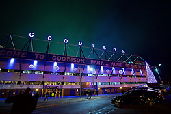 LIVERPOOL, ENGLAND - Monday, December 19, 2016: Neon letters spelling Goodison illuminated outside Everton's Goodison Park stadium before the FA Premier League match against Liverpool, the 227th Merseyside Derby, at Goodison Park. (Pic by David Rawcliffe/Propaganda)