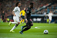 Serge Aurier of Paris Saint-Germain and Marcelo of Real Madrid during the UEFA Champions League match at the Estadio Santiago Bernabeu, Madrid<br /> Picture by Marcos Calvo Mesa/Focus Images Ltd +34 654142934<br /> 03/11/2015
