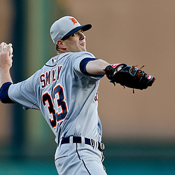Mar 7, 2013; Lake Buena Vista, FL, USA; Detroit Tigers starting pitcher Drew Smyly (33) throws against the Atlanta Braves during the bottom of the first inning of a spring training game at Champion Stadium. Mandatory Credit: Derick E. Hingle-USA TODAY Sports