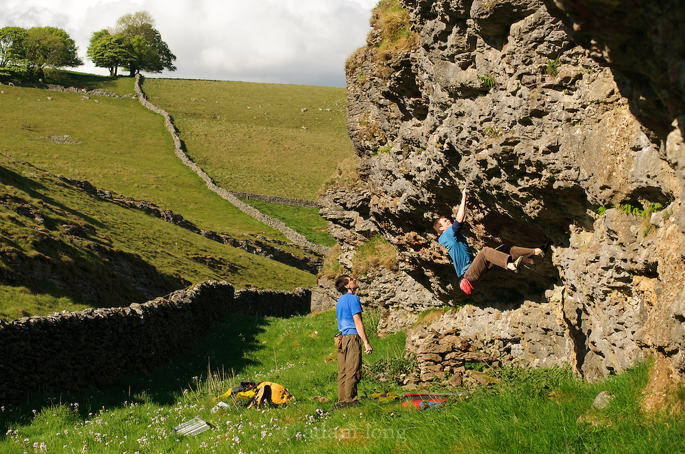 Ned Feehally climbing new problems at Conies Dale, Peak District