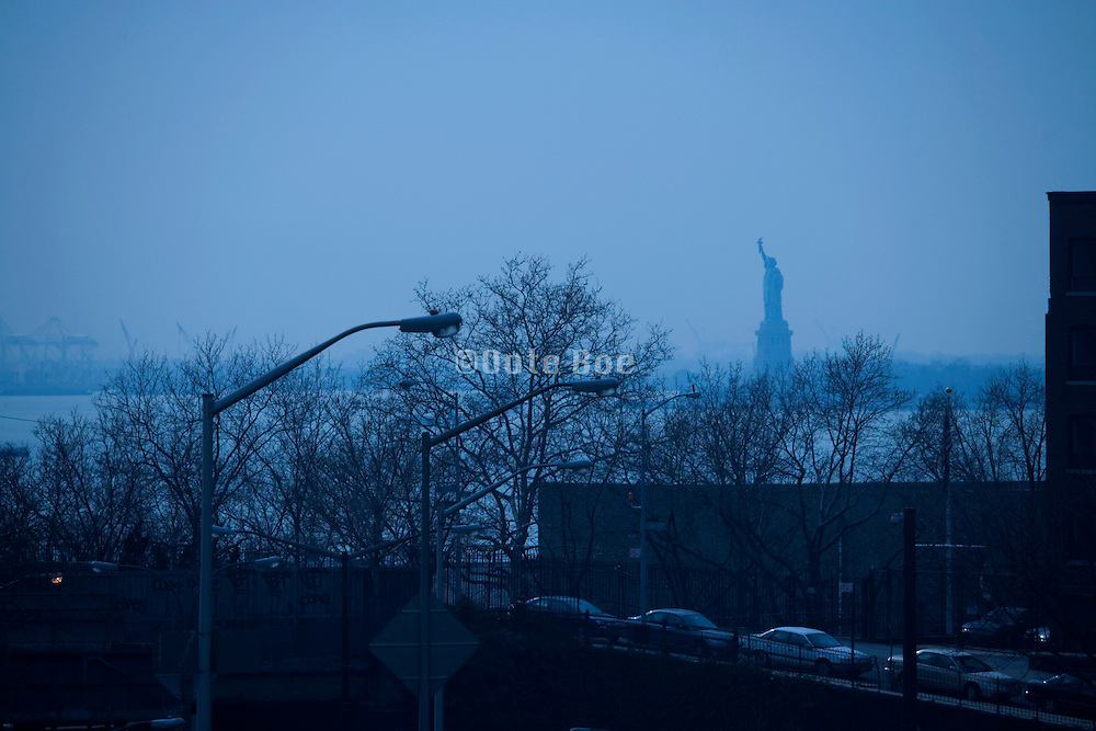 Statue of Liberty seen from Brooklyn side on the Brooklyn Bridge
