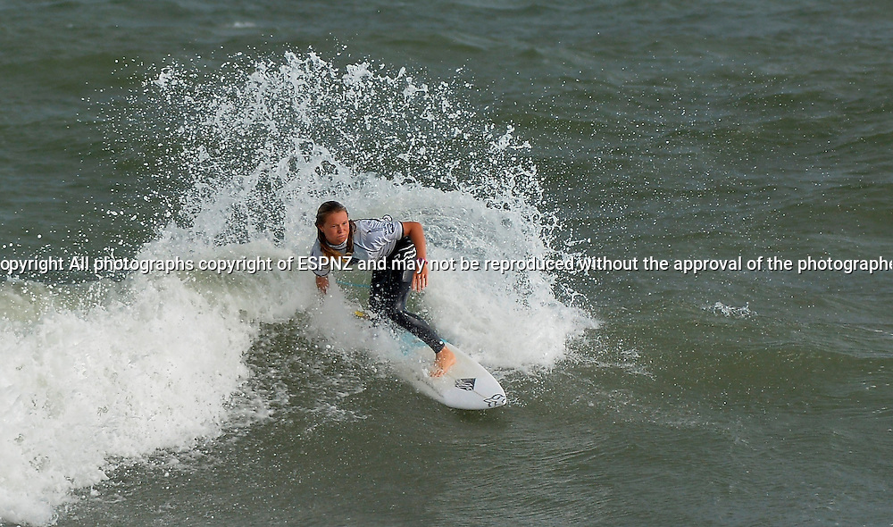 Winner Keely Andrew ( Aust) competing in the PORT TARANAKI PRO WSL WOMENS 6 star Qualifying series Featuring the worlds highest ranked surfers including many of the World Tours top 17.<br /> This is stop number three of the 2015 WSL Women's 6-Star Qualifying Series competitions where the best in the world battle it out, gaining points towards securing one of six coveted spaces on the WSL World Championship Tour for the following year.<br />  <br /> Photo John Velvin/ESPNZ