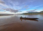 Laos, Champasak Province. Don Daeng Island. View across the Mekong towards Champasak at sunrise.