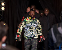 JOHANNESBURG, SOUTH AFRICA - MAY 13:  Alain Ilunga walking out during EFC 49 Fight Night at the Big Top Arena, Carnival City, Johannesburg, South Africa on May 13, 2016. (Photo by Anton Geyser/ EFC Worldwide)