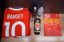 CARDIFF, WALES - Saturday, September 2, 2017: The shirt and shin pad of Wales' Aaron Ramsey in the dressing room before a pre-match walks at the Vale Resort ahead of the 2018 FIFA World Cup Qualifying Group D match against Austria. (Pic by David Rawcliffe/Propaganda)