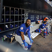 NEW YORK, NEW YORK - July 02: Jason Heyward #22 of the Chicago Cubs in the dugout preparing to bat during the Chicago Cubs Vs New York Mets regular season MLB game at Citi Field on July 02, 2016 in New York City. (Photo by Tim Clayton/Corbis via Getty Images)