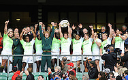 LONDON, ENGLAND - Sunday 11 May 2014, the Springbok Sevens hold up the plate during the Plate final match between South Africa and Kenya at the Marriott London Sevens rugby tournament being held at Twickenham Rugby Stadium in London as part of the HSBC Sevens World Series.<br /> Photo by Roger Sedres/ImageSA