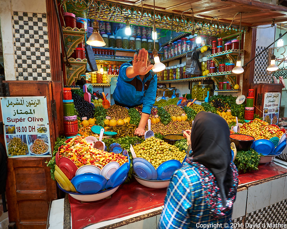 No Pictures!!! Olive shop in the Medina of Fes. Image taken with a Fuji X-T1 camera and Zeiss 12 mm f/2.8 lens (ISO 200, 12 mm, f/2.8, 1/34 sec).