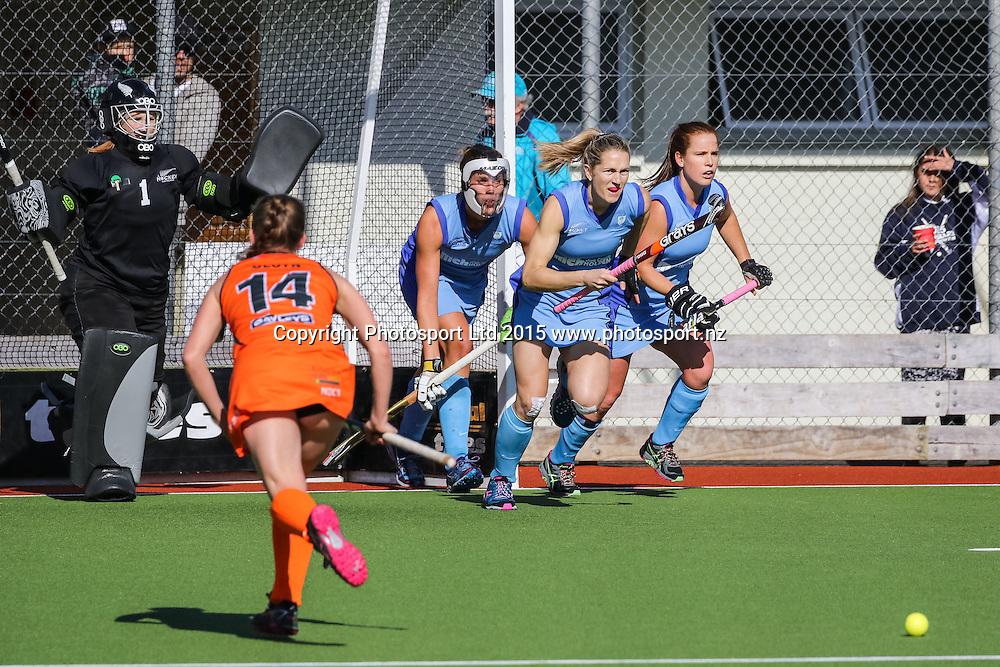 Northland charges the penalty corner. NHL Womens Hockey. Northland v Midlands. Whangarei. New Zealand. 12 September 2015. Copyright Photo: Heath Johnson / www.photosport.nz