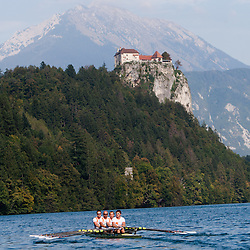 Iztok Cop (stroke), Jüri Jaanson, Vaclav Chalupa and Davor Mizerit (bow) and in background castle Bled during rowing at Slovenian National Championship and farewell of Iztok Cop, on September 22, 2012 at Lake Bled, Ljubljana Slovenia. (Photo By Matic Klansek Velej / Sportida)
