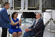 Garden City, New York, U.S. June 6, 2019. At right, Apollo 16 astronaut WALTER CUNNINGHAM is interviewed during Cradle of Aviation Museum's Apollo Astronauts Press Conference during its day of events celebrating 50th Anniversary of Apollo 11.