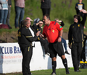 Referee lectures the Charleston bench - FC Kettledrum (green and white) v Charleston (yellow) in the Dundee Saturday Morning Football League George Mcarthur Memorial Cup Final at Glenesk, Dundee, Photo: David Young<br /> <br />  - &copy; David Young - www.davidyoungphoto.co.uk - email: davidyoungphoto@gmail.com