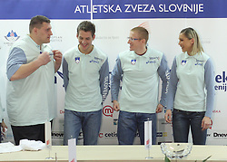 Miro Vodovnik, Cene Subic, Matic Osovnikar and Snezana Rodic at press conference before departure of  Slovenian athletics team to European Athletics Indoor Championships Torino 2009, in Ljubljana, Slovenia, on March 4, 2009. (Photo by Vid Ponikvar / Sportida)