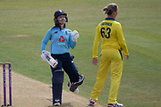 100- Tammy Beaumont acknowledges the crowd on reaching 100uring the Royal London Women's One Day International match between England Women Cricket and Australia at the Fischer County Ground, Grace Road, Leicester, United Kingdom on 4 July 2019.