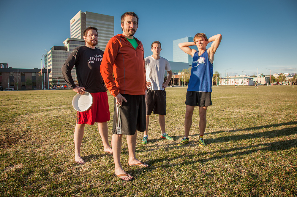 "Brothers John and Chris Dunaway, John Weber, and Jacob Kirk on the Delaney Park Strip, Anchorage.  ""We started Anchorage's first Ultimate Frisbee League.  We're headed to a tournament in Bozman this summer"".  johnmarc@axiomalaska.com"