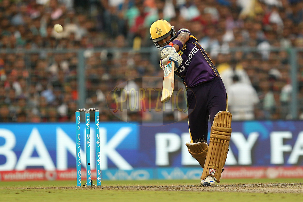 Suryakumar Yadav of  Kolkata Knight Riders in action during match 55 of the Vivo Indian Premier League ( IPL ) 2016 between the Kolkata Knight Riders and the Sunrisers Hyderabad held at the Eden Gardens Stadium in Kolkata on the 22nd May 2016Photo by Prashant Bhoot / IPL/ SPORTZPICS