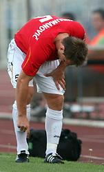 Almir Sulejmanovic (5) of Rudar was injured at 3rd Round of PrvaLiga Telekom Slovenije between NK HIT Gorica vs NK Rudar Velenje, on August 1, 2008, in Nova Gorica, Slovenija. Rudar won the match 2:0. (Photo by Vid Ponikvar / Sportal Images)